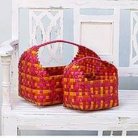 Recycled plastic baskets, 'Vivid Cradles' (pair) - Two Handwoven Colorful Recycled Plastic Baskets from India