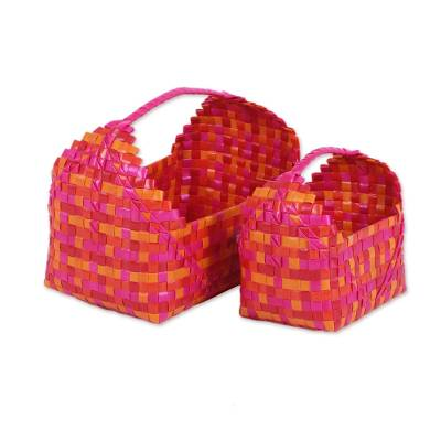 Two Handwoven Colorful Recycled Plastic Baskets from India