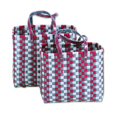 Two Handwoven Recycled Plastic Baskets from India