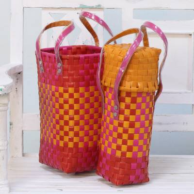 Recycled plastic bottle holders, 'Sunshine Picnic' (pair) - Two Handwoven Recycled Plastic Bottle Holders in from India