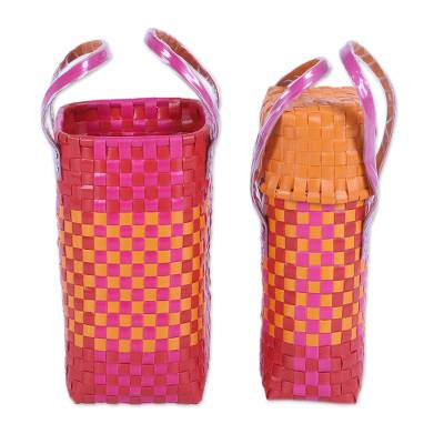 Two Handwoven Recycled Plastic Bottle Holders in from India