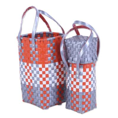 Two Handcrafted Recycled Plastic Bottle Holders from India