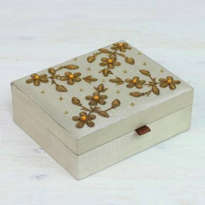 Beaded jewelry box, 'Floral Greatness' - Beaded Jewelry Box in Bone with Floral Motifs from India