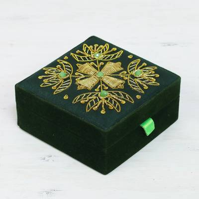 Beaded jewelry box, Forest Glamour