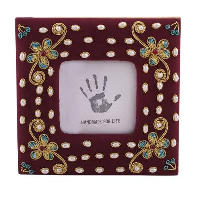 Cotton Photo Frame with Cultured Pearl from India (3x3)