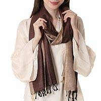 Silk shawl, 'Chestnut Glory' - Handwoven Silk Shawl in Chestnut and Straw from India