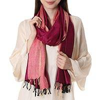 Silk shawl, 'Fuchsia Glory' - Handwoven Silk Shawl in Fuchsia and Parchment from India