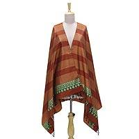 Silk shawl, 'Earthen Stripes' - Jacquard Striped Silk Shawl in Russet and Spice from India