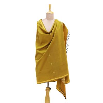 Silk shawl, 'Classic Style in Amber' - Jacquard Woven Silk Shawl in Amber from India