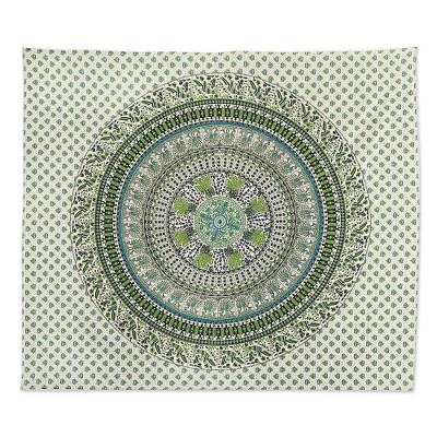 Cotton wall hanging, 'Jungle Mandala in Green' - Green and Blue Cotton Screen Printed Mandala Wall Hanging