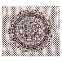 Cotton wall hanging, 'Jungle Mandala in Carmine' - Carmine and Blue Cotton Screen Printed Mandala Wall Hanging
