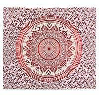 Cotton wall hanging, 'Cerise Majesty' - Cerise Red Mandala Cotton Wall Hanging from India