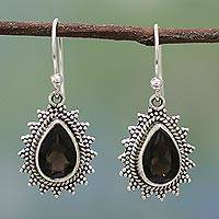 Smoky quartz dangle earrings, 'Smoky Drop' - Handmade Smoky Quartz and Silver Earrings from India