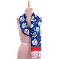 Hand painted silk scarf, 'Circle Dance in Royal Blue' - Handwoven Circle Motif Silk Scarf in Royal Blue from India