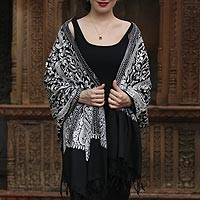 Embroidered wool shawl, 'Paisley Queen in Black' - Paisley Motif Wool Shawl in Black and Snow White from India