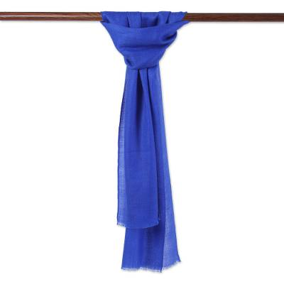 Wool and silk blend scarf, 'Royal Poise' - Wool and Silk Blend Wrap Scarf in Lapis from India