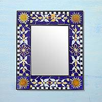Ceramic mirror, 'Natural Mosaic' - Rectangular Floral Mosaic Wall Mirror from India