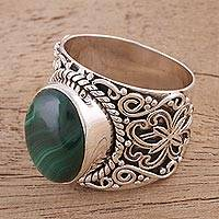 Malachite cocktail ring, 'Exotic Sky' - Handmade Silver and Green Malachite Cocktail Ring from India