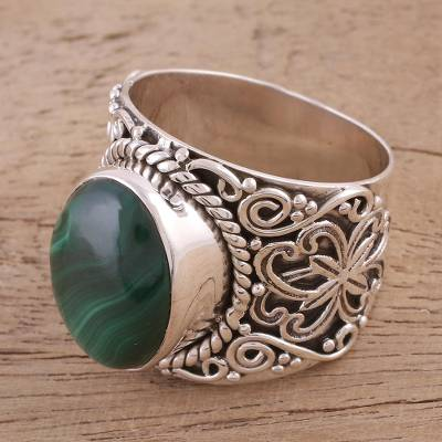 Handmade Silver and Green Malachite Cocktail Ring from India