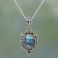 Sterling silver pendant necklace, 'Dotted Elegance' - Sterling Silver and Composite Turquoise Necklace from India