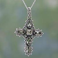 Prasiolite pendant necklace, 'Heavenly Green' - Prasiolite and Sterling Silver Cross Necklace from India