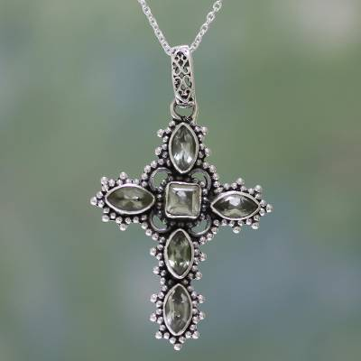 Prasiolite pendant necklace, Heavenly Green
