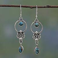 Sterling silver dangle earrings, 'Forms of Love' - Sterling Silver and Composite Turquoise Earrings from India