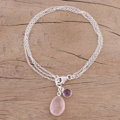 Rose quartz and amethyst charm bracelet, 'Twinkling Harmony' - Rose Quartz and Amethyst Charm Bracelet from India