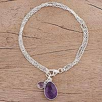 Amethyst charm bracelet, 'Twinkling Harmony' - Amethyst and Sterling Silver Charm Bracelet from India