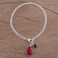 Ruby and garnet charm bracelet, 'Twinkling Harmony' - Ruby and Garnet Sterling Silver Charm Bracelet from India