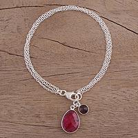 Ruby and garnet charm bracelet,