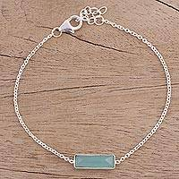 Chalcedony pendant bracelet, 'Elegant Prism' - Chalcedony and Sterling Silver Bracelet from India