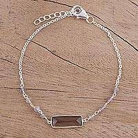 Smoky quartz and labradorite pendant bracelet, 'Magical Prism' - Smoky Quartz and Labradorite Bracelet from India