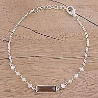 Smoky quartz and rainbow moonstone pendant bracelet, 'Magical Prism' - Smoky Quartz and Rainbow Moonstone Bracelet from India