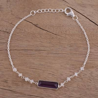 Amethyst and rainbow moonstone pendant bracelet, 'Magical Prism' - Amethyst and Rainbow Moonstone Pendant Bracelet from India