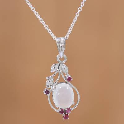 Ruby and moonstone pendant necklace, 'Moonlight Enchantment' - Ruby and Moonstone Sterling Silver Pendant Necklace