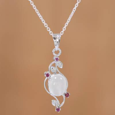 Ruby and moonstone pendant necklace, 'Moonlight Revel' - Moonstone and Ruby Sterling Silver Pendant Necklace