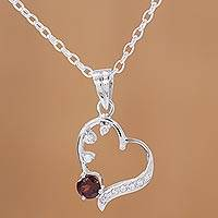 Rhodium plated garnet pendant necklace, 'Heart Glitter' - Rhodium Plated Garnet Heart Pendant Necklace from India