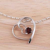Garnet pendant necklace, 'Dancing Heart' - Garnet Heart Rhodium Plated Sterling Silver Pendant