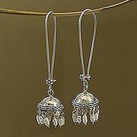 Cultured pearl dangle earrings, 'Beauty in Tradition' - Cultured Pearl and Sterling Silver Jhumki Dangle Earrings