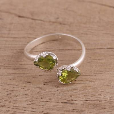 wide band amethyst ring - Rhodium Plated Sterling Silver Peridot Wrap Ring from India