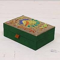 Cotton jewelry box, 'Peacock Strut' - Beaded Peacock Cotton Jewelry Box in Wheat from India