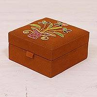 Embroidered jewelry box, 'Delightful Bouquet' - Floral Embroidered Jewelry Box in Pumpkin from India
