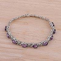 Rhodium plated amethyst link bracelet, 'Purple Glitter' - Rhodium Plated Amethyst Link Bracelet from India