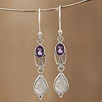 Rainbow moonstone and amethyst dangle earrings, 'Ascendant' - Amethyst and Rainbow Moonstone Sterling Dangle Earrings