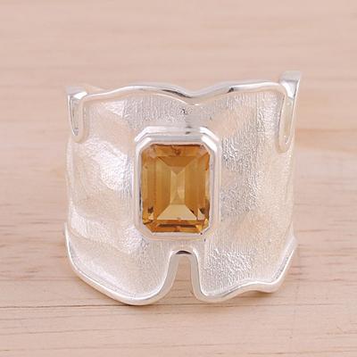 Rhodium Plated Wavy Citrine Single Stone Ring from India