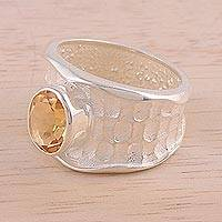 Rhodium plated citrine single stone ring, 'Sparkling Crocodile' - Rhodium Plated Textured Citrine Single Stone Ring from India
