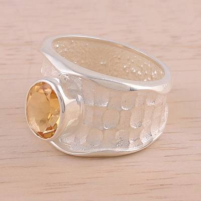 Rhodium Plated Textured Citrine Single Stone Ring from India