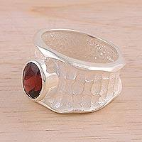 Rhodium plated garnet single stone ring, 'Sparkling Crocodile' - Rhodium Plated Textured Garnet Single Stone Ring from India