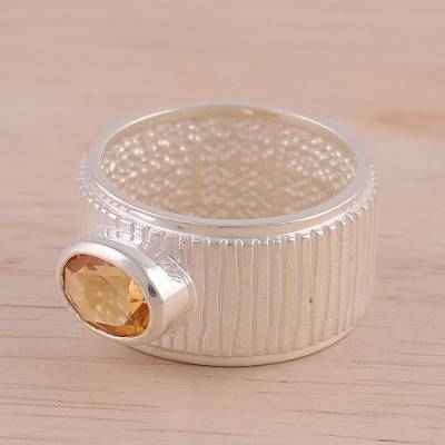 Rhodium Plated Citrine Single Stone Ring from India